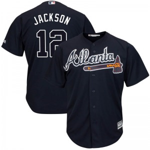 Men's Majestic Atlanta Braves Alex Jackson Navy Cool Base Alternate Jersey - Replica