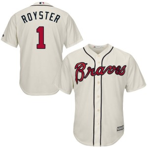 Men's Majestic Atlanta Braves Jerry Royster Cream Cool Base Alternate Jersey - Authentic
