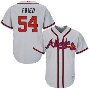 Youth Majestic Atlanta Braves Max Fried Gray Cool Base Road Jersey - Authentic