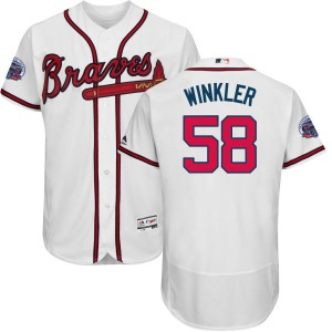 Men's Majestic Atlanta Braves Dan Winkler White Home 2017 Flex Base Jersey with Commemorative Patch - Replica
