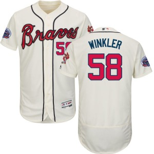 Men's Majestic Atlanta Braves Dan Winkler Cream Alternate 2017 Flex Base Jersey with Commemorative Patch - Replica